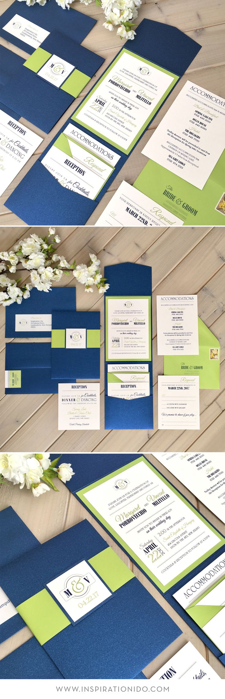 Navy and Lime Wedding Invitations, Pocket Invitations, Cobalt Blue and Lime