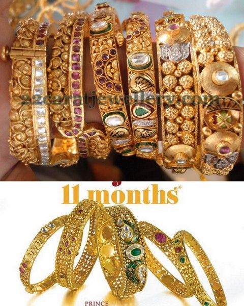 Jewellery Designs: Broad and Thin Antique Bangles