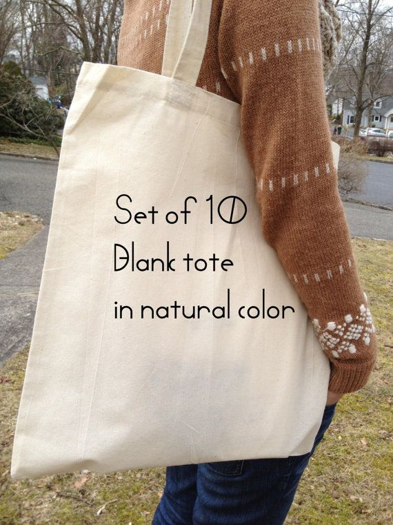 Set of 10, cotton canvas tote, FREE custom gussets, wedding, bridal tote, cotton tote bag, DIY tote bag, blank tote, plain tote bag 26 plus 6 shipping <3