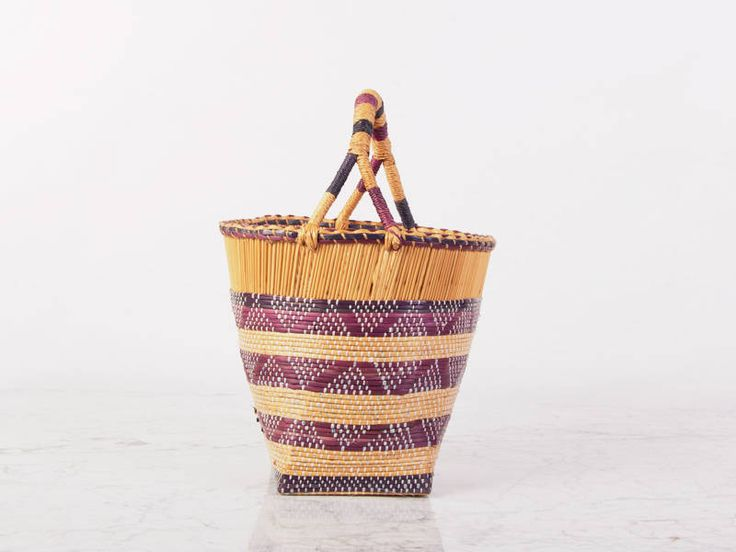 Best Vintage Straw Storage Basket With Handle Woven Storage Basket Basket Planter Stripes Wicker Storage Basket Triangle Pattern Baskett