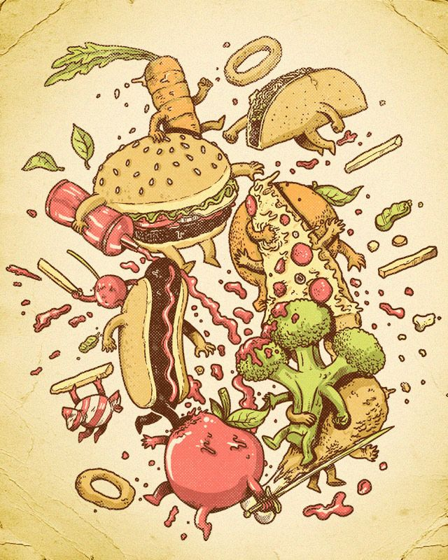 Create a literal Food Fight in your sketchbook. What did you eat over break and who won?