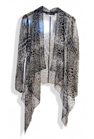 Waterfall Cardigan Snow Leopard Silk