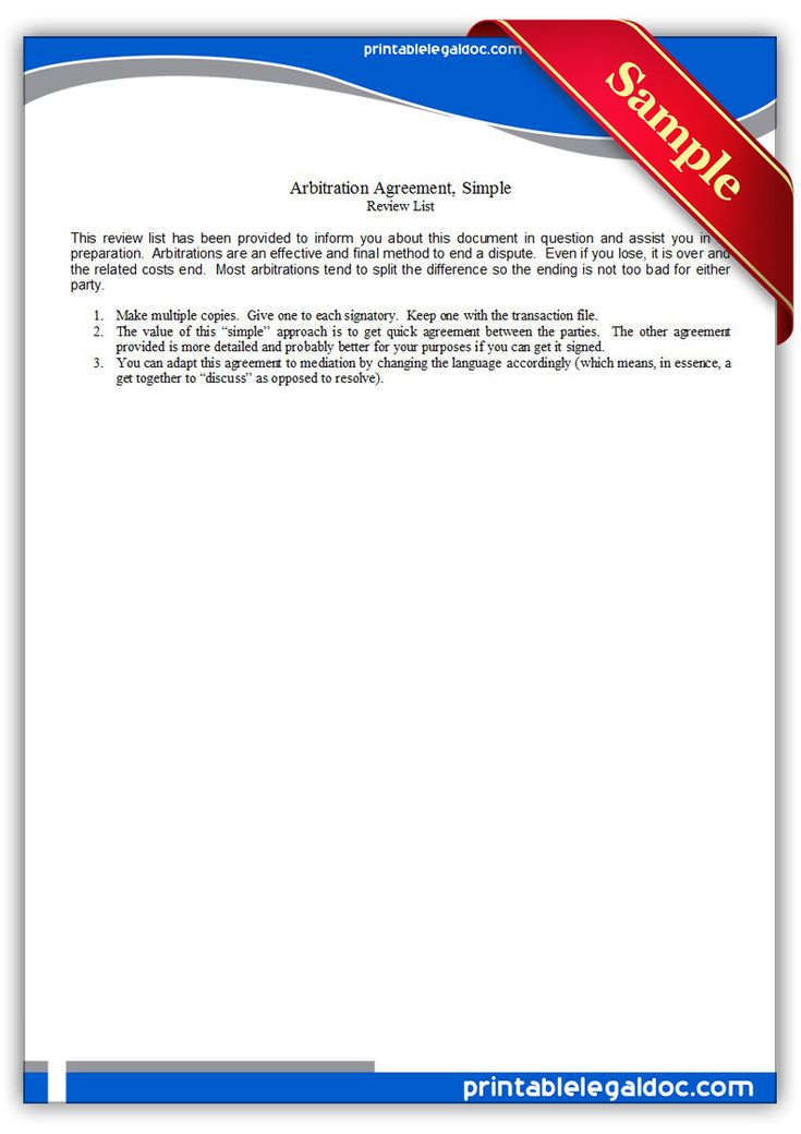 117 best Free Legal Forms images on Pinterest Free printable - employment arbitration agreement