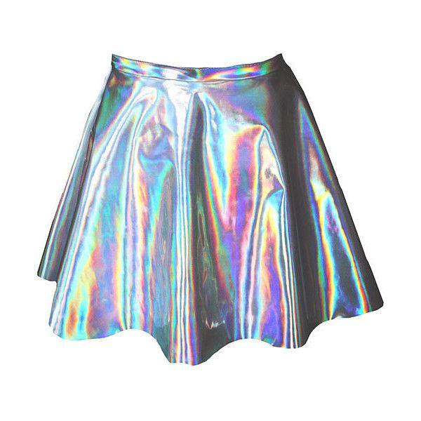 ChainCandy Holographic Hologram Leather High Waisted Circle Skirt (€61) ❤ liked on Polyvore featuring skirts, bottoms, faldas, holographic, flared skirt, high rise skirts, holographic skirt, high waisted skater skirt and leather skirt