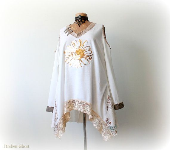 US$72.00 Winter White Boho Tunic Upcycled Plus Size Loose Layer Top Gypsy Chic Style Unique Clothing Cold Shoulder Shirt Women Draped Top 3X LEANNA'