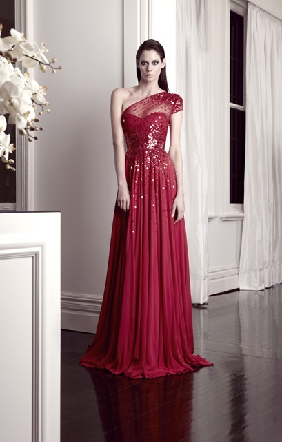 Red gown with sheer detail