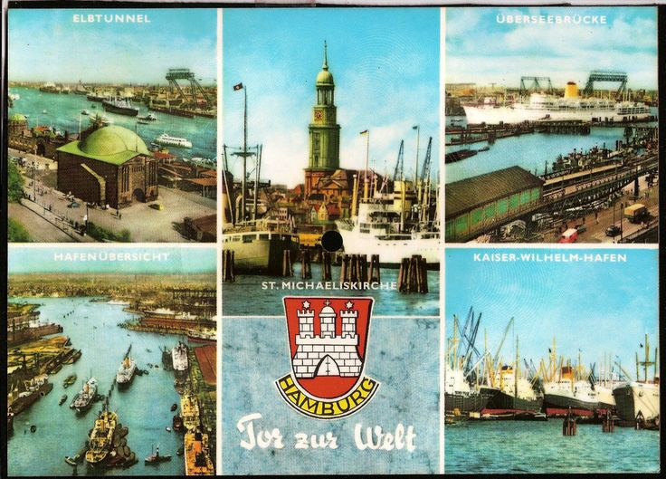 Vintage musical 45 rpm record postcard Germany HAMBURG Tor zur Welt