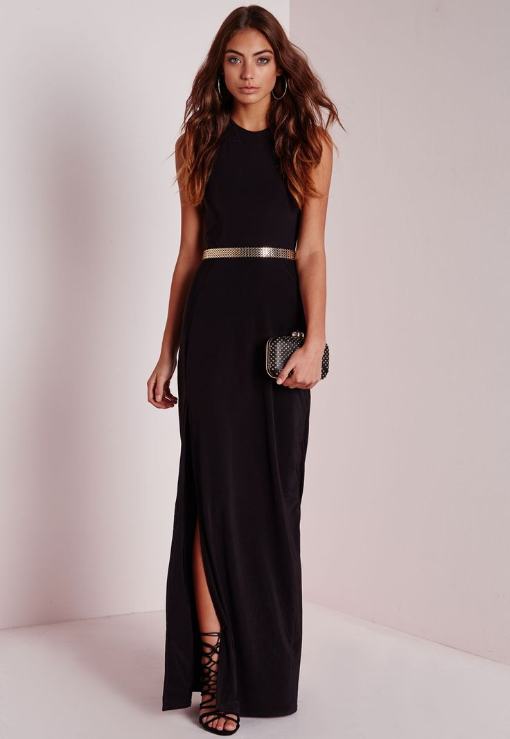 Slinky side split maxi dress navy missguided fashion