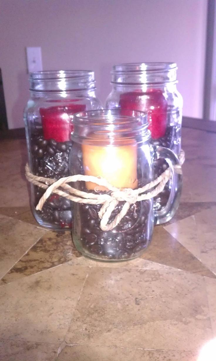 Love me some mason jars...coffee beans and candles..love: Mason Jars Coff Candles, Diy Hom Stuff, Jars Coffee Beans, Diy Outdoor, Mason Jars Coffee, Candles Lov, Jars Coff Beans, Bobs Vila, Diy Crafty
