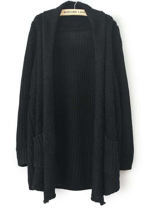 Black Long Sleeve Pockets Loose Cardigan Sweater US$32.62
