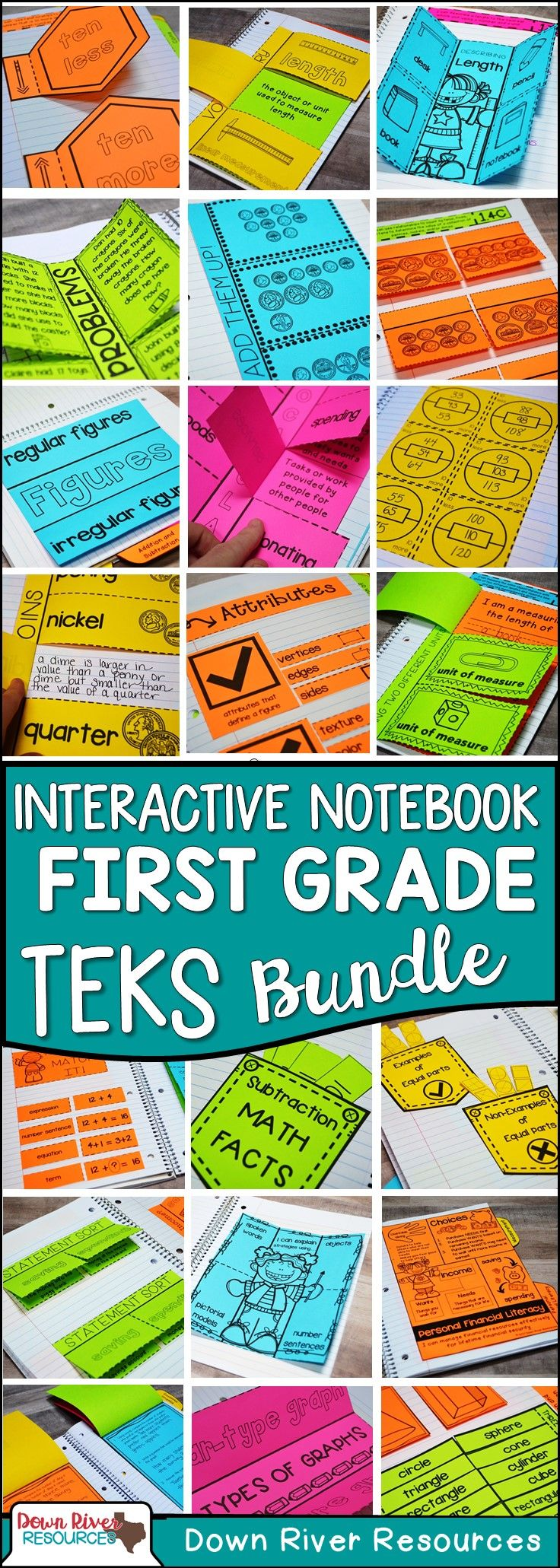 First Grade Math Interactive Notebook | First Grade TEKS- aligned | Math Interactive Notebook First Grade | Topics Include: Whole Numbers, Addition and Subtraction, Algebraic Reasoning, U.S. Coins and Their Values, Geometry, Measurement, Data Analysis, and Personal Financial Literacy.