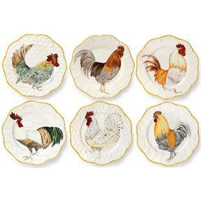 Plumes Dinnerware Brings A Fresh Look To A Traditional Country Chicken  Motif. Six Cheerful Roosters Grace This Set Of Dinner Plates.