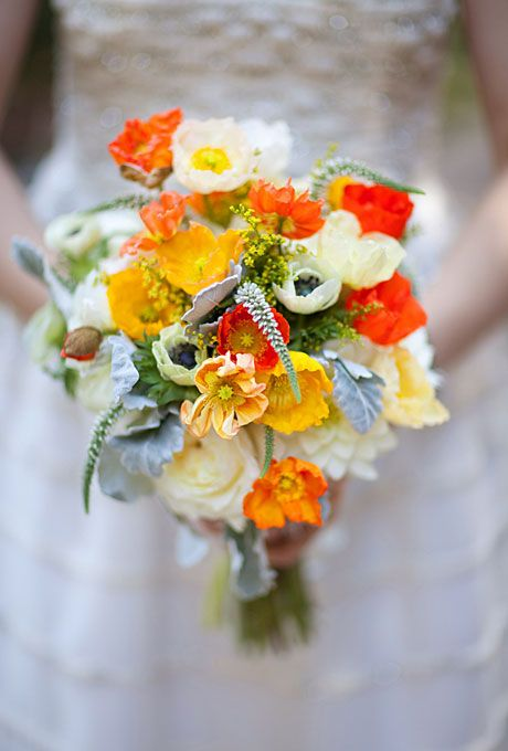 Bright, contemporary wedding bouquet with poppies and anemones by Birds of a Feather