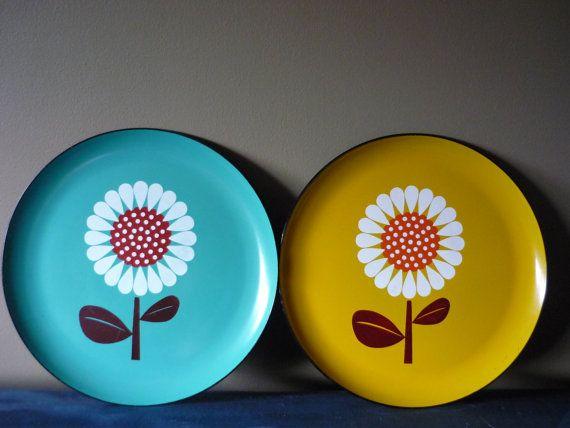 Vintage Mod Flower Serving Platters