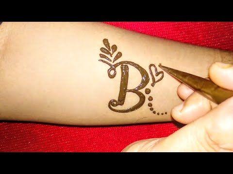 6323377f2 Alphabet 'B' Letter henna tattoo design||Fancy B letter mehndi design -  YouTube