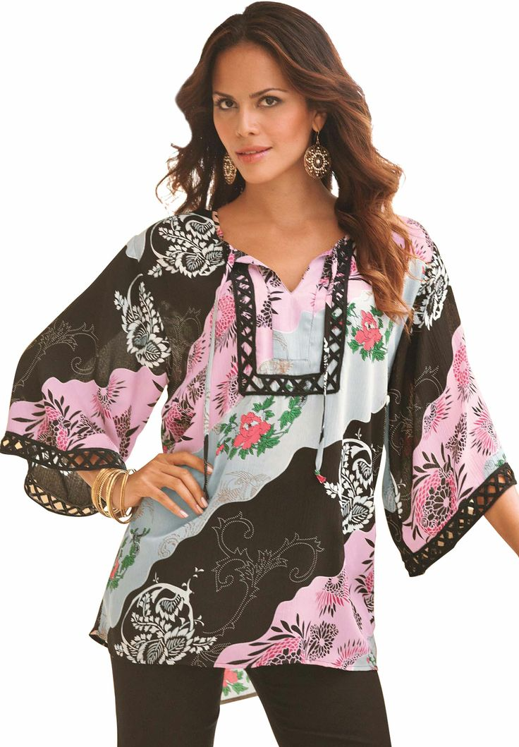 Roamans Women's Plus Size Kimono Tunic Denim