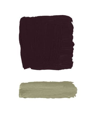 """""""Aubergine on the walls conveys a sense of deep space, like a Mark Rothko painting. It's expansive and tonally rich. Then I'd be audacious and mix it with an equally provocative trim color like this citrony gray-green. It might be too much for a bedroom or a living room, but try it in a study, a library, or a powder room."""" -WHITNEY STEWART: BENJAMIN MOORE CAPONATA AF-650; THICKET AF-405"""