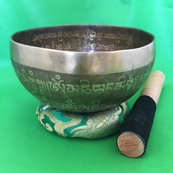 SOLD!!!  Audio Sound - Handmade Tibetan Script Buddhist Mantra Carving Singing Bowl-1-045
