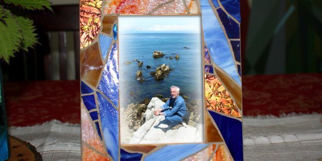 Beach Glass Mosaic Frame, Blue Stained Glass Picture Frame