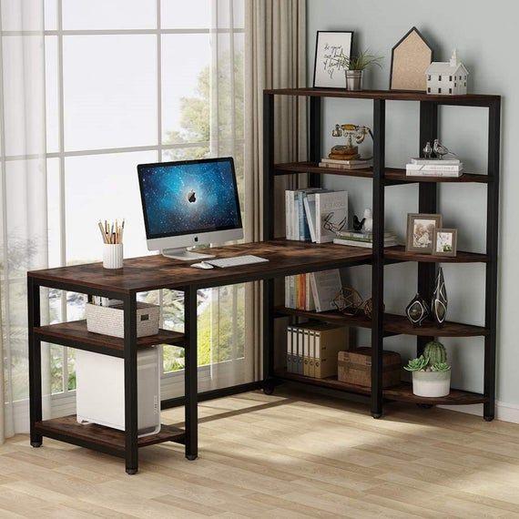 Modern Computer Desk Office Study, Corner Tower Computer Desk