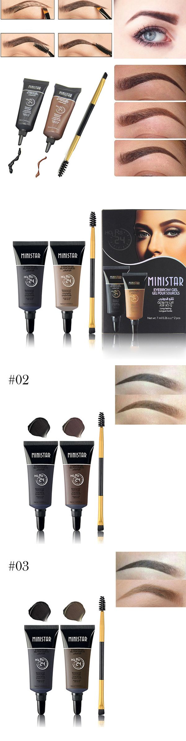 2Pcs Waterproof Black Brown Henna Eyebrow Gel Tint Pigments Eye Brow Tattoo Cream Eyebrows Enhancer