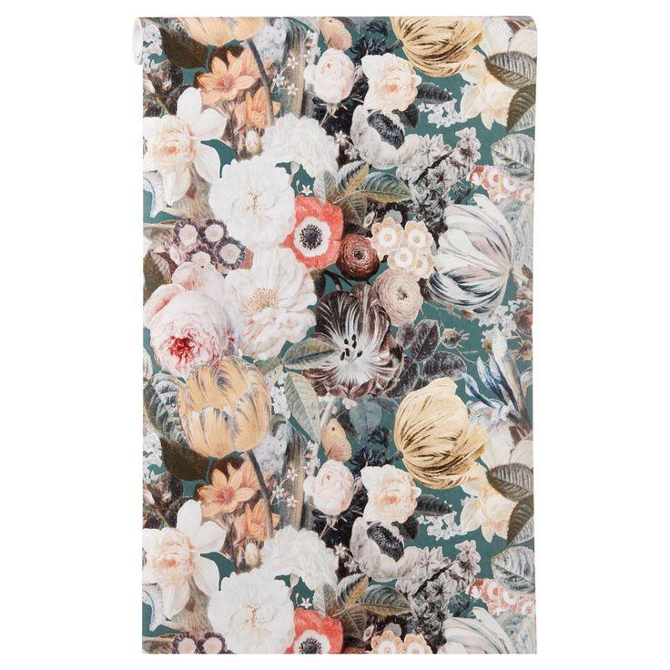 Sfeervol vliesbehang met een bloemenprint. Plakken met Perfax Roll-On. #kwantumbelgie #vliesbehang #behang #muur #muurinspiratie #bloemen #bloemenprint