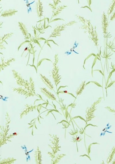 Summertime (T4195) - Thibaut Wallpapers - A pretty summertime motif of leaves, ladybirds and dragonflies in aqua - vinyl coated. This is an American wallcovering and will take between 7-10 working days for delivery. Wide width. Please request sample for true colour match.