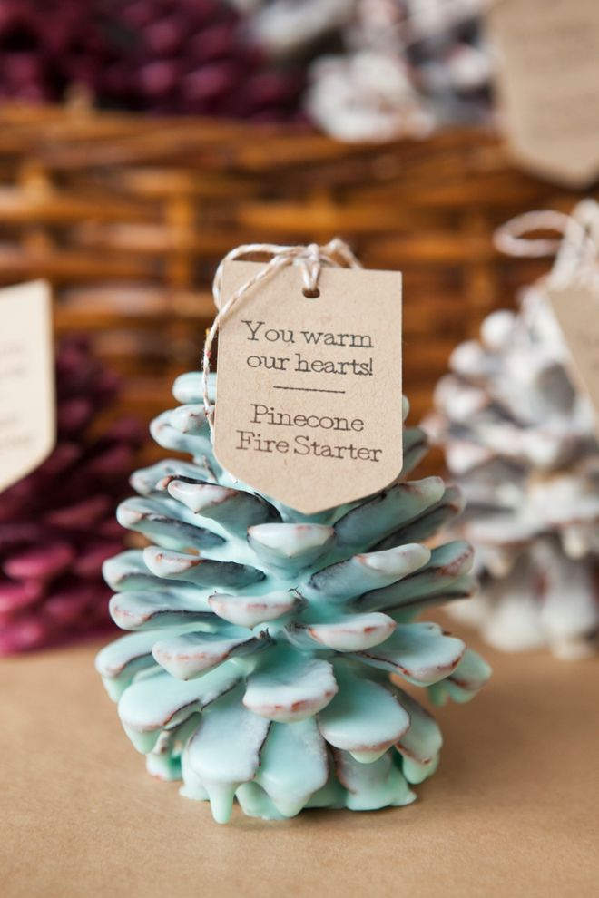DIY - How to make Pinecone Fire Starter favors! Perfect for your winter wedding!