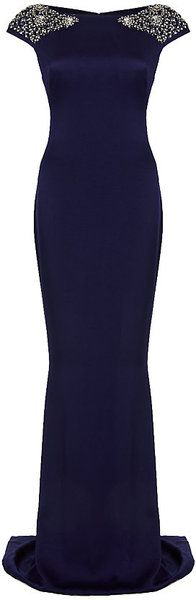 Marchesa Cap Sleeve Gown in Blue (navy) - Lyst