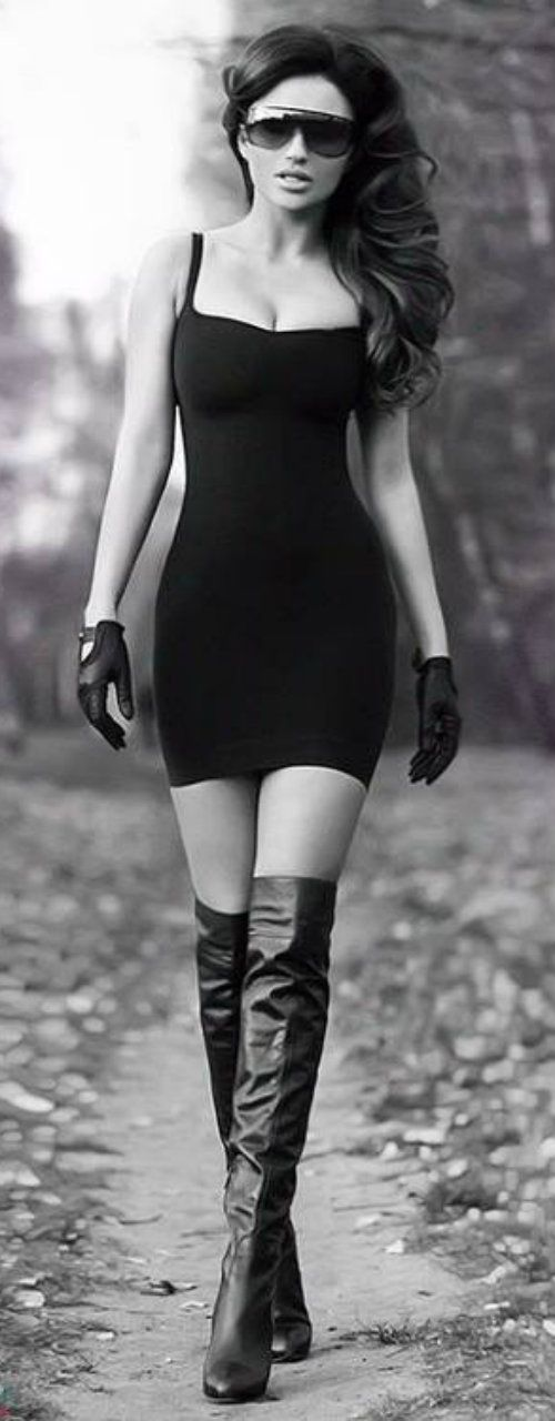 Lil black dress, knee highs, gloves & stunnas (Something about this outfit says I'm gonna take u down hard)