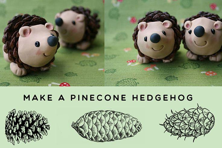 Make a pinecone hedgehog!