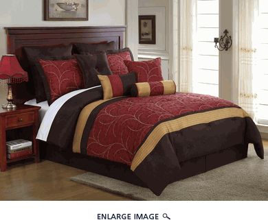10 Piece Queen Lambert Burgundy And Gold Embroidered Comforter Set