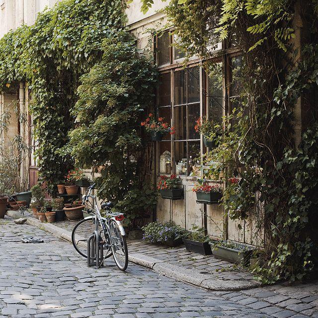 cobblestones, climbing vines, and a bistro...perfection. via ck/ck flickr