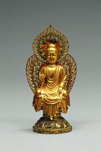 Buddha, probably Amitabha (Korean: Amita). Korea, Silla kingdom, ca. 706. From the pagoda at Hwangboksa Temple site. Gold; H. 4 3/4 in. (12.2 cm). National Museum of Korea, National Treasure 79