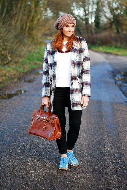 Checked coat & beanie with Diesel trainers & Birkin-style bag by Not Dressed As Lamb