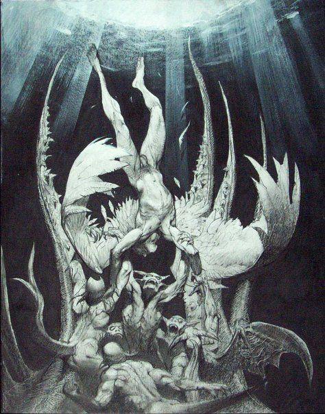 Simon Bisley- Lucifer falling from Heaven.