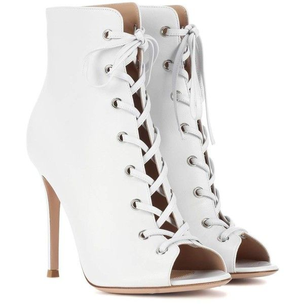 Gianvito Rossi Marie Peep-Toe Leather Ankle Boots ($1,065) ❤ liked on Polyvore featuring shoes, boots, ankle booties, white, ankle boots, white peep toe booties, leather bootie, leather boots and leather ankle booties