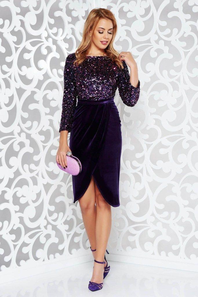 oferta specifica cu ridicata aspect detaliat Rochie mov indigo eleganta de seara cu paiete si maneci lungi ...