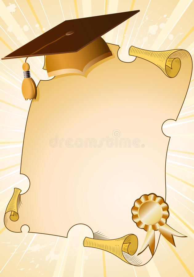 Graduation Background With Cap And Diploma Element For Design