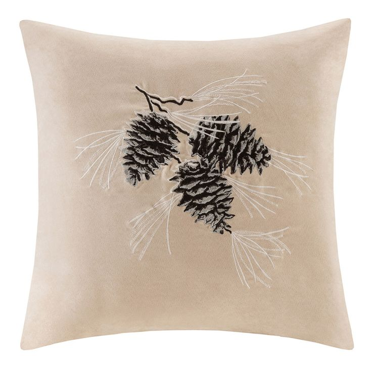 Madison Park Pine Cone Embroidered Faux Suede Throw Pillow