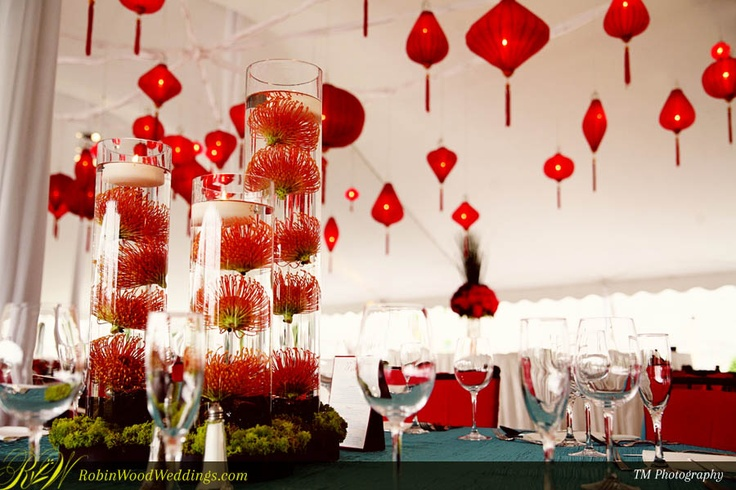 Chinese Red Lanterns With Floating Red Flower Centerpieces Red