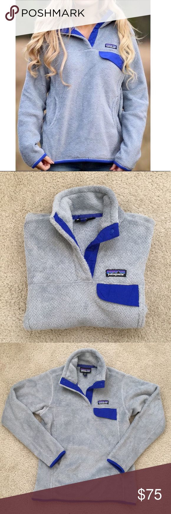 Patagonia Retool Snap Pullover Grey cozy pullover with purple accents  Snap up neck Foldable collar 2 front pockets  Perfect for chilly spring days   Worn only a few times, like new condition! Patagonia Tops Sweatshirts & Hoodies