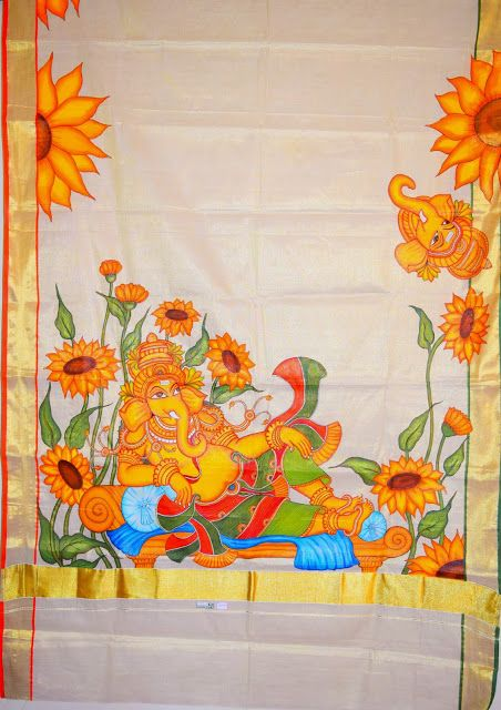 Veda collections hand painted saree mural painted saree for A mural is painted on a