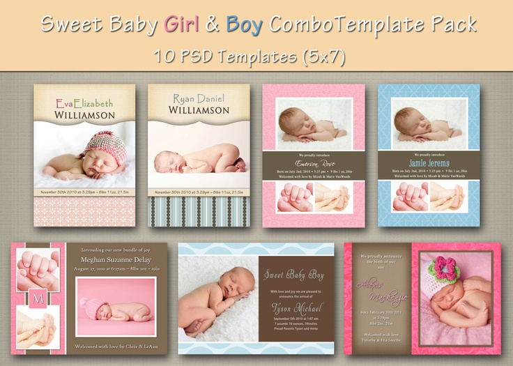 instant download baby boy and girl birth announcement template pack 1 10psd baby birth