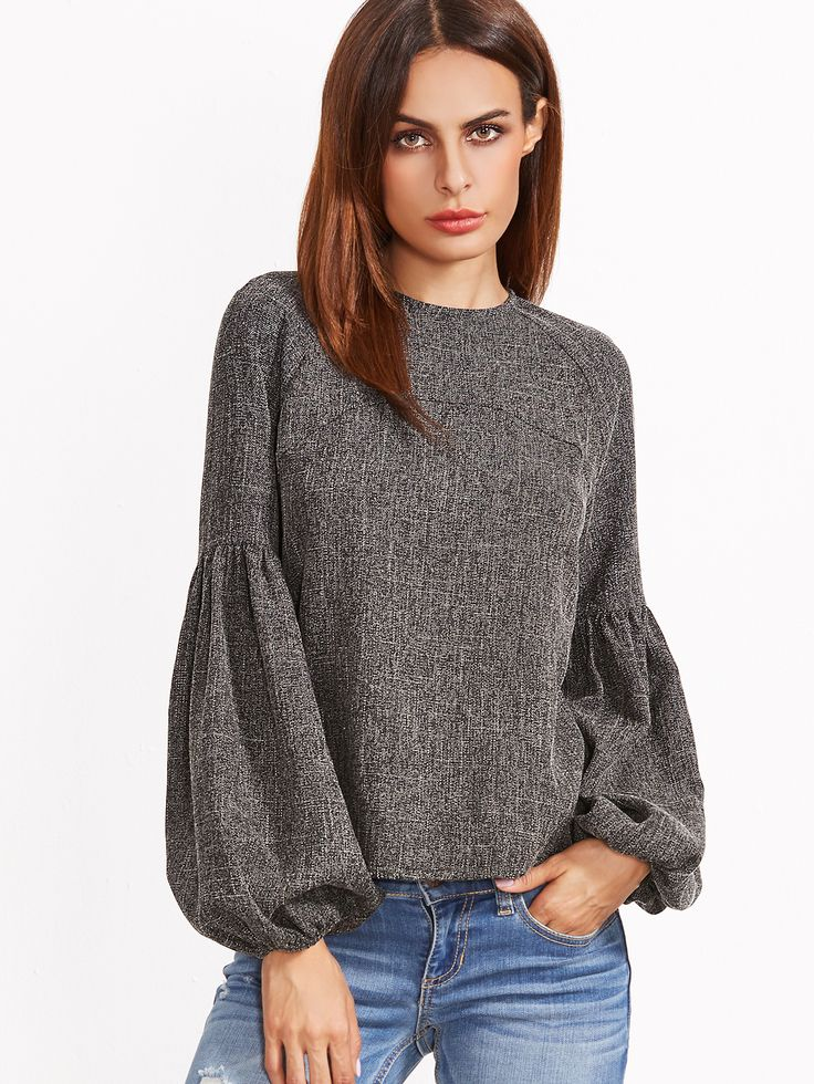 Shop Grey Keyhole Back Lantern Sleeve Top online. SheIn offers Grey Keyhole Back Lantern Sleeve Top & more to fit your fashionable needs.