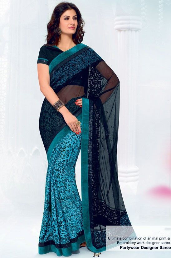 Alluring Aqua Blue and Black Animal Printed Saree http://ethanica.myshopify.com/products/alluring-aqua-blue-and-black-animal-printed-saree #sarees #partywearsarees