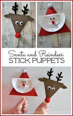 Santa and Reindeer Stick Puppets. Fun Christmas Kid Craft.