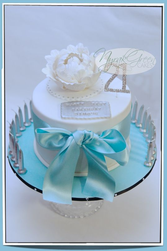 Tiffany Co Inspired 21st Birthday Cake With Mini Cupcakes