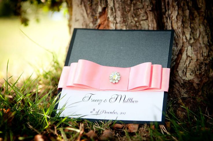 #Vancouver #Handmade #Wedding #Stationery Layered thick ribbon bow on black, silver and ivory card stock, with sparkly small buckle. www.blisspaper.com