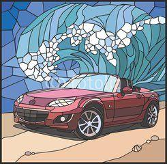 Автомобиль на берегу моря (Car on the beach)